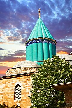 Mevl√¢na museum, with the blue domed mausoleum of Jalal ad-Din Muhammad Rumi, the dervish lodge, tekke, of the Mevlevi order, Konya, Turkey