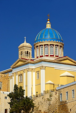 Neo-classic Greek Orthodox church of Saint Nicholas, Ermoupolis, Syros, Cyclades Islands, Greece, Europe