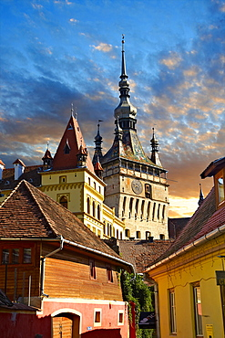 Medieval clock tower and gate of Sighisoara, Saxon fortified medieval citadel, Transylvania, Romania, Europe