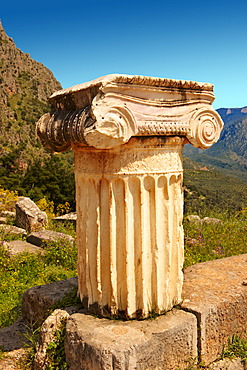 Ionic column, Delphi archaeological site, Greece, Europe