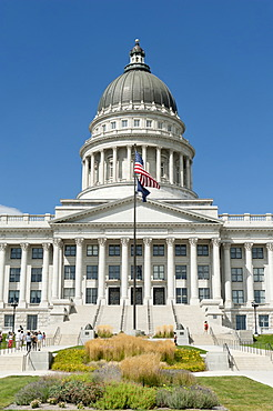 Capitol, Supreme Court and Parliament, national flag and flag of the State of Utah, Capitol Hill, Salt Lake City, Utah, Western United States, USA, United States of America, North America