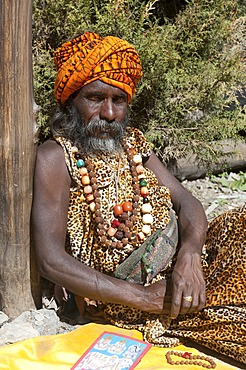 Sadhu, holy man with turban and necklaces, Muktinath, Mustang, Nepal