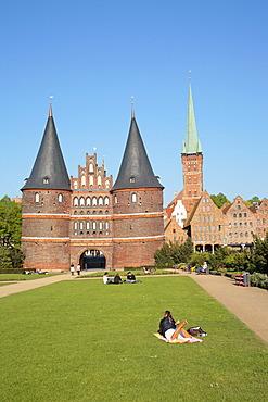 Holsten Gate, St. Peter's Church and Salzspeicher salt storehouses, Luebeck, Schleswig-Holstein, Germany, Europe