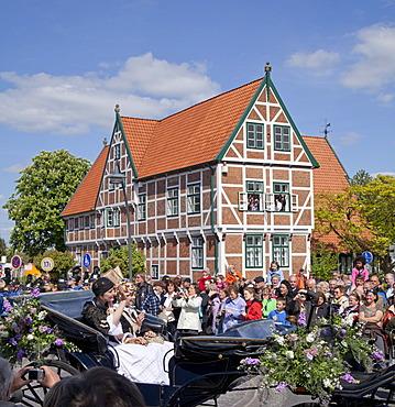 Pageant, festival parade, Jork blossom festival, town hall, Jork, Altes Land fruit-growing region, Lower Saxony, Germany, Europe, PublicGround