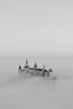Burg Hohenzollern Castle with fog, autumn, Hechingen, Swabian Alb, Baden-Wuerttemberg, Germany, Europe