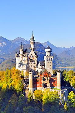 Schloss Neuschwanstein Castle, near Fussen, Ostallgaeu, Allgaeu, Bavaria, Germany, Europe