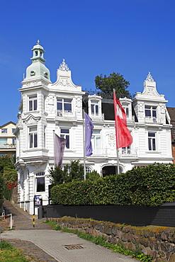 Historic Strandhotel Blankenese, built in 1902, Strandweg street in Blankenese quarter, Hamburg-Blankenese, Altona district, suburb on the Elbe river, Hamburg, Germany, Europe, PublicGround