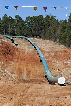 Construction of the southern portion of the Keystone XL pipeline, environmentalists have opposed the pipeline because it will transport dirty tar sands oil from Alberta, contributing to global warming and raising the risk of pollution from pipeline leaks,