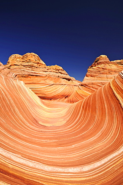 The Wave, banded eroded Navajo sandstone rocks with Liesegang bands or Liesegang rings, North Coyote Buttes, CBN, Pareah Paria Canyon, Vermilion Cliffs National Monument, Arizona, Utah, Southwestern USA, USA