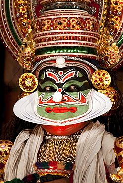 Kathakali dancer wearing jewelry, Kochi, Kerala, India, Asia