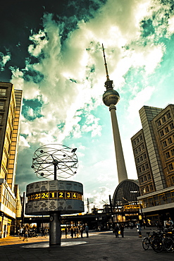 Fernsehturm, television tower and World Clock on Alexanderplatz square in Berlin, Germany, Europe
