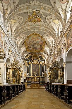 Benedictine monastery of St. Emmeram, St. Emmeram's Abbey, papal basilica, nave and high altar with a baroque interior by the Asam brothers, old town of Regensburg, Upper Palatinate, Bavaria, Germany, Europe