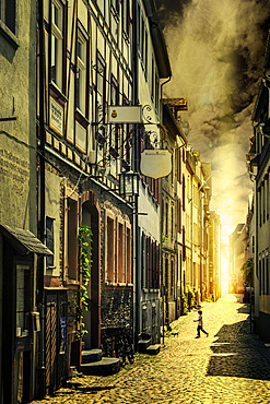 Alleyway, Bacharach, Rhineland-Palatinate, Germany, Europe