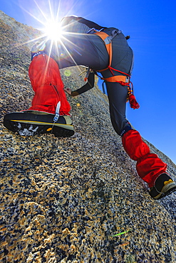 Climber climbing on a rock wall, alpine climb, Alps, below the summit, Petite Forch, Canton of Valais, Switzerland, Europe