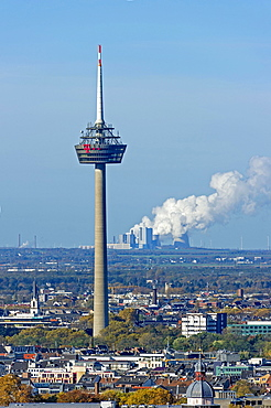 Telecommunications tower Colonius, behind RWE coal-fired power plant Niederaußem, Bergheim, Cologne, North Rhine-Westphalia, Germany, Europe