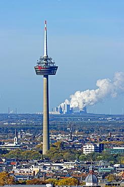 Telecommunications tower Colonius, behind RWE coal-fired power plant Niederaußem, Bergheim, Cologne, North Rhine-Westphalia, Germany, Europe