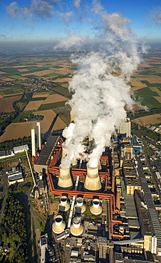 Aerial view, Niederaussem Bergheim RWE power plant, RWE Energy, coal power plant, fossil energies, smoking chimneys, emissions, cooling towers, Rhineland, North Rhine-Westphalia, Germany, Europe