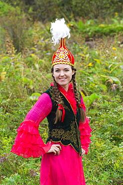 Young Kazakh woman, Kazakh ethnographic village aul Gunny, Talgar, Almaty, Kazakhstan, Asia