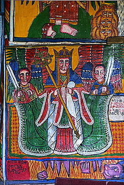 Archangel Michael, Canvas painting, Orthodox rock church Mikael Mellehayzengi, Tsaeda Amba, Tigray, Ethiopia, Africa