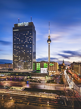 Alexanderplatz with television tower and hotel park inn, blue hour, Berlin, Germany, Europe