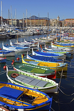 Colorful boats in harbour, Port Lympia, Nice, Provence-Alpes-Côte d'Azur, France, Europe