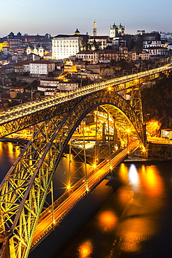 Bridge, arch bridge Ponte Dom Luis I over the Douro, Twilight, Porto, Portugal, Europe