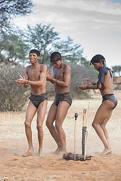 Kung Bushmen at a dance, Zebra Lodge, Hardap Region, Namibia, Africa