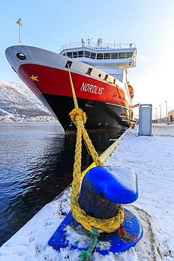 Hurtigruten MS Nordlys docked at harbor, winter, Tromso, Troms Province, Norway, Europe