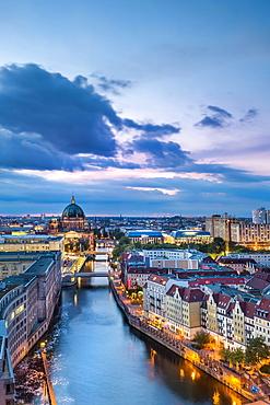 View of Berlin Cathedral, Nikolai Quarter, Spree, Berlin-Mitte, Berlin, Germany, Europe
