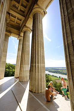 Pillars of the Walhalla with view to the Danube, Donaustauf, Bavarian Forest, Upper Palatinate, Bavaria, Germany, Europe