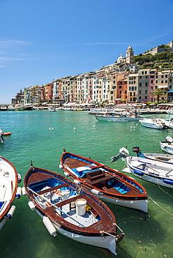 Fishing boats in harbour, Porto Venere, Portovenere, Cinque Terre, Liguria, Italy, Europe