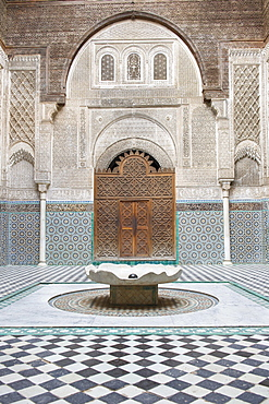 Water basin in Medersa Attarine, historic centre, Medina, Fes, Morocco, Africa