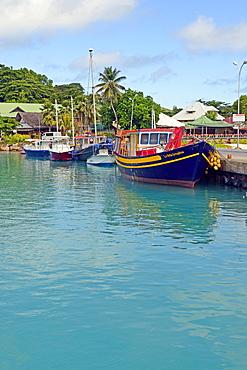 Port, jetty, La Digue Island, Seychelles, Africa