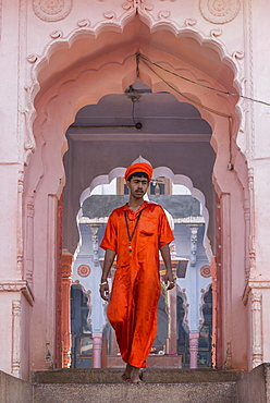 Young sadhu in front of a Hindu temple in Pushkar, Rajasthan, India, Asia