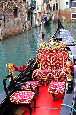 Gondola in a small canal, Venice, Veneto, Italy, Europe