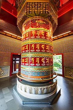 Vairocana Buddha Prayer Wheel in the Ten Thousands Buddhas Pavilion, Buddha Tooth Relic Temple, Chinatown, Singapore, Asia