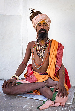 Sadhu in lotus position, Pushkar, Rajasthan, India, Asia