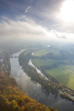 Aerial view, floodplains of the Ruhr River with autumnal clouds, morning fog, Mulheim an der Ruhr, Ruhr area, North Rhine-Westphalia, Germany, Europe