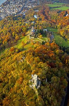 Burg Drachenfels and Drachenburg Castle in autumn, Königswinter, Rhine Valley, North Rhine-Westphalia, Germany, Europe