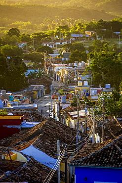 View from the bell tower of the church Convento de San Francisco de Asis onto the city, Trinidad, Cuba, Central America