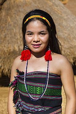 Phnong woman in traditional costume, ethnic minority, Pnong, Bunong, Senmonorom, Sen Monorom, Mondulkiri Province, Cambodia, Asia