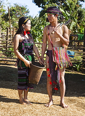 Phnong woman and man in traditional costume, ethnic minority, Pnong, Bunong, Senmonorom, Sen Monorom, Mondulkiri Province, Cambodia, Asia