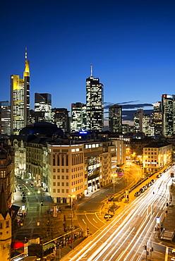 Skyline at night, Frankfurt, Hesse, Germany, Europe