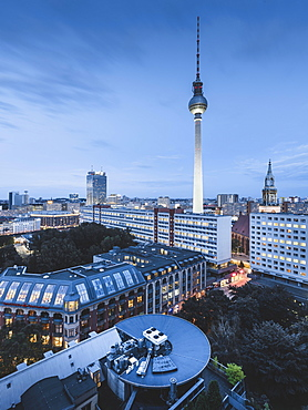 The Berlin Television Tower at Alexanderplatz from above, Berlin, Germany, Europe