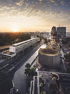 Breitscheidplatz and the Gedächtniskirche with bikini house from above, Berlin, Germany, Europe