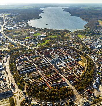 Aerial view, City of Four Gates, Neubrandenburg, Muritz lake, Mecklenburg Lake District, Mecklenburg-Western Pomerania, Germany, Europe