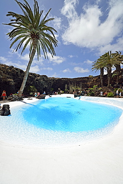 """Pool in the lava cave """"""""Jameos del Agua"""""""", designed by Cesar Manrique, Lanzarote, Canary Islands, Spain, Europe"""