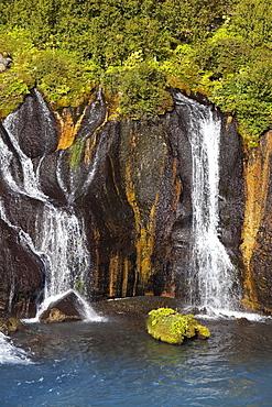 Waterfall Hraunfossar, West Iceland, Iceland, Europe