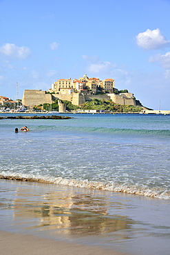 View of the citadel from the town beach, Calvi, Corsica, France, Europe