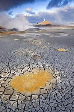 Baejarfell Lighthouse, high temperature geothermal area of Gunnuhver, Snaefellsnes, Iceland, Europe